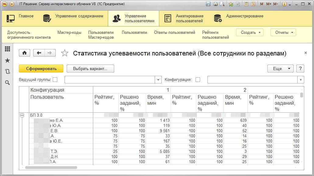 Статистика интерактивного обучения - сервер